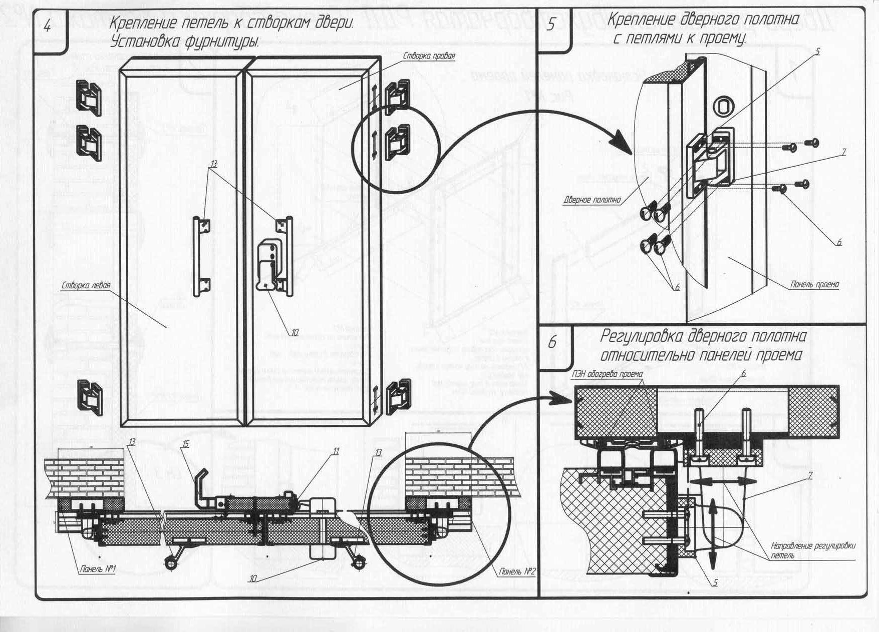 монтаж стальной двухстворчатой двери